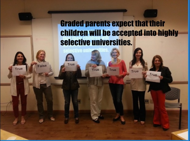 This photo shows where this group of Graded parents stands on university for their children. As you can see, the standards are high.